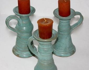 Aqua  Candlestick Trio in Stoneware Holiday  Decor One of A Kind
