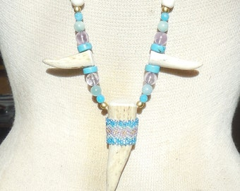 Beaded Shed Elk Antler Tip Necklace with Turquoise Amethyst Amazonite Blue Quartzite Semiprecious Stone Beads Cruelty Free Antler
