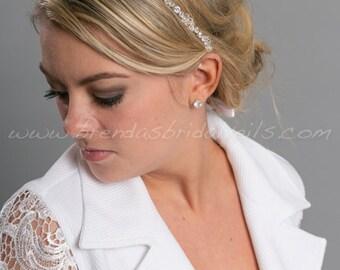 Rhinestone Headband, Crystal Headband, Ribbon Tie On Headband, Wedding Hair Accessory - Julianne