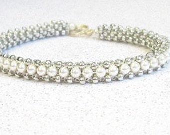 pearl beaded jewelry sterling silver and pearl beadwork   bead bracelet pearl