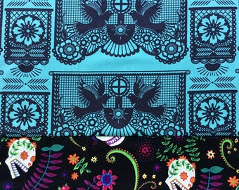 Day of the Dead Tablecloth Table Runner Mexican Sugar Skulls Papel Picado Blue Black