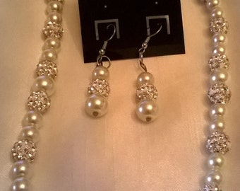 White Glass Pearls and Silvery Pave Beads Necklace Set