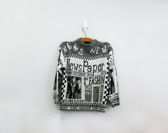 vintage 80s Read All About It Newspaper Novelty Sweater M L