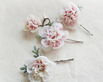 wedding hair pins, bridal hair piece, floral hair pins, bridal headpiece, wedding hair clips, ivory hair flower, floral hair accessory, #39