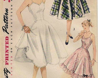 1950s Simplicity 3766 Vintage Sewing Pattern Misses Full Slip and Petticoat SIze 12 Bust 30