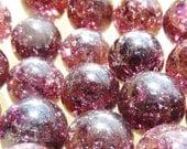 """Twenty(20) 9/16"""" 14mm Amethyst Purple Marbles, Dark Purple, Fried Marbles, Cracked Marbles, Crackled Marbles, Glass Marbles, Marbels"""