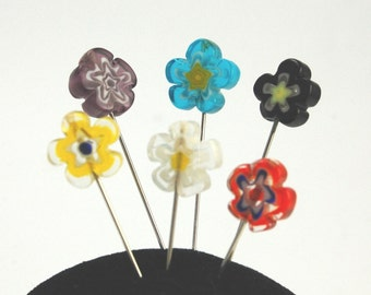 Millefiori glass Straight Pins - Set of 6 medium long