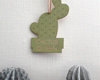 Pop Culture Wall Hanging- Laser cut birch | CACTUS QUEEN