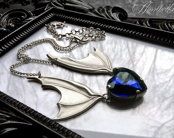 Bat Wing Necklace with Sapphire Heart // Gothic Necklace // Bat Necklace // Blue Heart Necklace // Wings Necklace // Gothic Gift