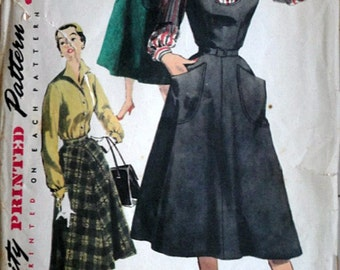 Misses' Jumper, Blouse and Skirt, Simplicity 4838 Vintage 50's Sewing Pattern, Size 12, 30 Bust