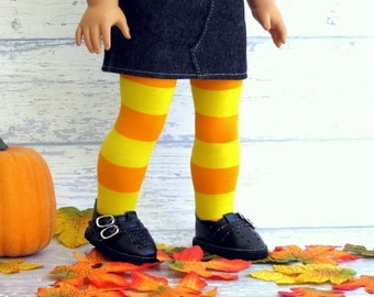Orange Yellow Stripe Doll Tights, fits American Girl Doll, 18 inch Doll Stockings