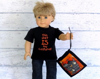 Boy Doll Clothes Halloween Tee Shirt and Trick or Treat Bag, American Boy Doll Black T Shirt, Halloween Costume