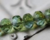 LUSH MEADOW .. 10 Picasso Czech Glass Rondelle Beads 6x8mm (2258-10)