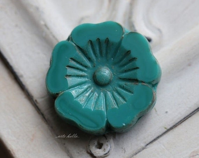sale .. TEAL PANSY No. 1 .. 1 Picasso Czech Glass Flower Beads 22mm (5244-1)
