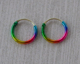 Small 10mm Rainbow Sterling Silver Hoop Earring, Nose Ring, Cartilage Earring, Titanium Color, Green, Yellow, Pink, Blue, Metal Hoop