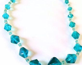 Vintage Graduated Aqua Czech Glass Bead Necklace . 1930s Czechoslovakia Art Deco Necklace . 30s Antique Aqua Turquoise Blue Faceted Necklace