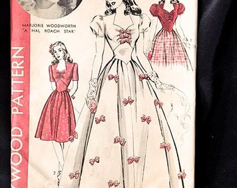 VTG 1059 Hollywood Pattern 1940s Complete Unused One-Piece Dress Size 18 BUST 36 HIP 39 Vntage 40s Unprinted Pattern Pieces Ex Cond