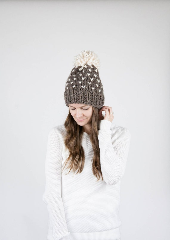 Fair Isle Knit Slouchy Hat With Pom Pom / THE ALPINE / Barley