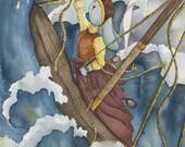 "Rabbit Bunny Nautical Illustration Nautical Decor 8"" x 10"" Watercolor Print Unique Nautical Gift Nautical Art Storm Ocean Seas Sailor Art"