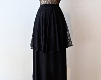 Vintage 1940s Illusion Lace Evening Gown ~ Vintage 40s Black Lace Cocktail Dress Sheer Lace Bodice With Peplum