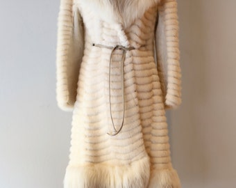 Vintage White Mink and Fox Fur Coat ~ Vintage 1960's Mink and Norwegian Fox Fur Jacket With Huge Collar From Bullocks