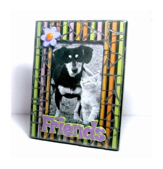 SALE Black Mosaic Photo Frame, Purple Friends Mosaic Frame, 4 x 6 Photo Mosaic Frame, Black Striped Mosaic Picture Frame, OOAK Mosaic Frame