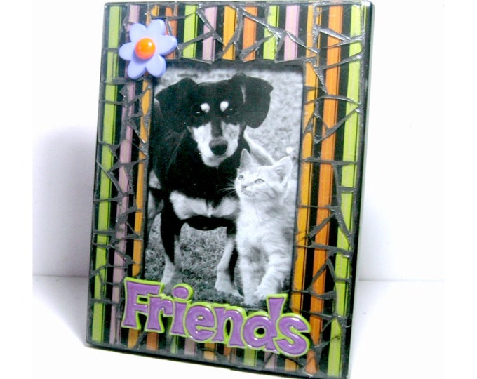 SALE Black Mosaic Photo Frame, Purple Friends Mosaic Frame, 4 x 6 Photo Mosaic Frame, Black Striped Mosaic Picture Frame, OOAK Mosaic Frame