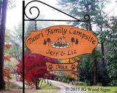 Extra Large WO Campfire Pine Tree Graphic- Custom Carved Redwood Family Name - Personalized Sign with XL Sign holder