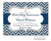Navy + Gray Chevron First Communion Invitation Boy, Silver Cross Navy Blue Boy First Communion Invitation, Printable Invitation, Printed