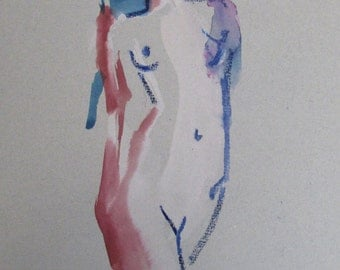 Nude painting- One minute pose 88.4 Original watercolor painting by Gretchen Kelly