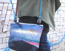 UPCYCLED Denim Purse. Hand Painted Bag. Fall Denim Bag. Recycled Leather & Jean. Shoulder Purse. Abstract Art.