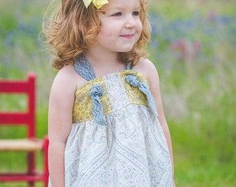 Girls maxi dress - knot dress - toddler maxi dress  - Easter dress - baby dress - boho maxi dress - bohemian girls dress - long dresses