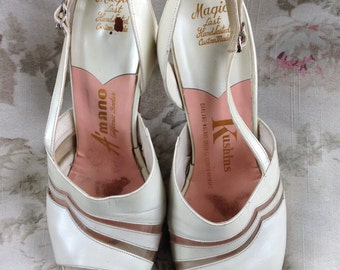 S a l e 1950's pearl white open toe slingbacks 8C A'Mano Magic Last