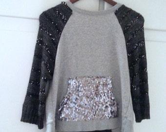 Grey Black Sequin Sweater Sweatshirt Refashion