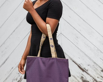 Purple and Beige Tote Bag with Majestic Purple and Blue Violet Dots on Champagne Beige