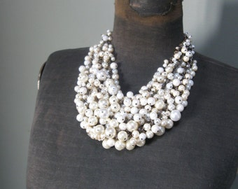 Pearl Bridal Statement Bib Necklace - Vintage Beads and Brass - Mermaid Farts