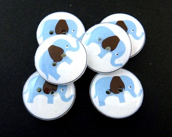 """6 Elephant Buttons. Blue Elephant with Brown Ears. Sewing Buttons.   3/4"""" or 20 mm.  Novelty Buttons Handmade By Me. Washer and dryer Safe."""