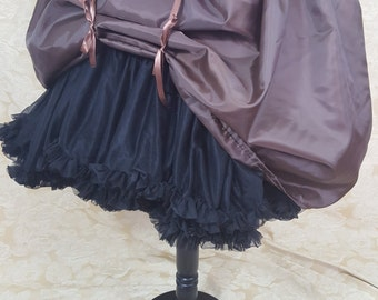 "Dark Brown Knee Length Bustle Skirt-One Size Fits Up To A 52"" Waist"