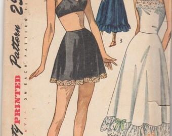 Simplicity 2602 1940s Misses Lace Trim Lingerie Half and Full Slip Panties and Bra Pattern Womens Vintage Sewing Pattern Size 12 Bust 30