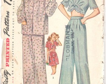 Simplicity 1230 1940s Misses Pajamas Pattern Trousers Tie Top Bishop Sleeves Womens Vintage Sleepwear Sewing Size 14 Bust 32 OR Size 18 B 36