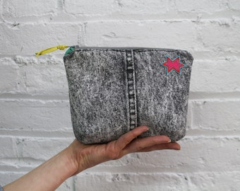 acid wash denim zip pouch / 80's recycled black denim / bandana lining / repurposed leather accents