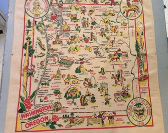 Vintage 1940s Souvenir Tablecloth Washington & Oregon