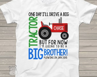 tractor big brother shirt colorful perfect pregnancy announcement for the big brother to be FRONT ONLY