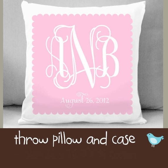 Custom monogram throw pillow and pillowcase made to match bedroom colors