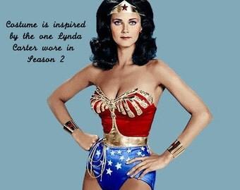 FULL Wonder Woman Costume... Season 2 Lynda Carter WW S2... Corset with Eagle, Tiara, Belt, Cuffs, CHOICE Bottoms, (no cape)...