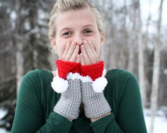 Crochet Pattern - Santa Hat Handwarmers