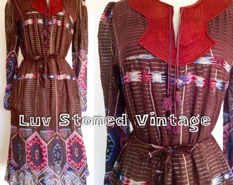 70s Vintage Rare Indian Metallic Cotton Gauze Tent Boho Hippie  Festival Midi Dress w Belt | XS-SM | D017 | 1201.7.23.16