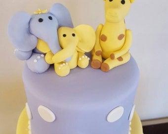 Lilac and Lemon Baby elephant and giraffe baby shower fondant cake topper
