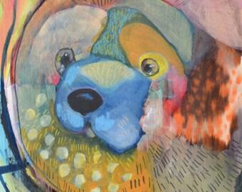 OOAK Original Dog Bear Painting on Panel