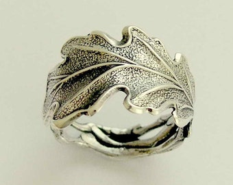 Sterling silver Ring,  oxidized band, woodland band, leaf band, wedding band, wide silver band, botanical ring - falling leaves 2 R1704